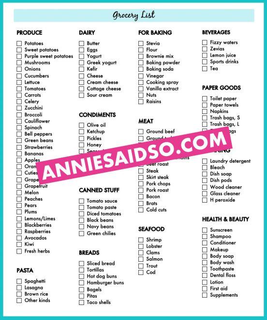 Free printable grocery list PDF!